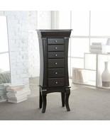 Black Espresso Wooden Jewelry Armoire Storage Cabinet 6 Drawers Mirror O... - $193.94