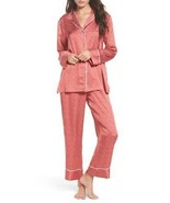 New NWT Designer Natori S Pajamas Set PJ Womens Red White Silky Satin Pa... - $110.50