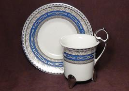 12 pcs. Silver Trim Victoria Era Style Design Porcelain Footed  Demitass... - $49.45
