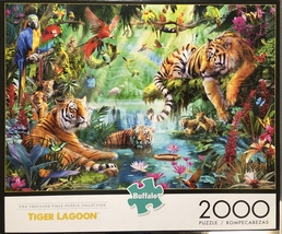 Buffalo Games Jigsaw Puzzle Tiger Lagoon 2000 Pieces 38.5 x 26.5 in. with Poster image 4