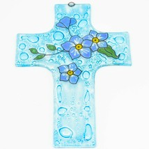 Handmade Fused Art Glass Forget Me Not Floral Flower Cross Hanging Sun Catcher