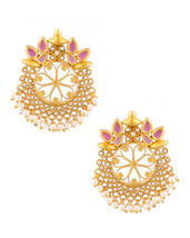 Floral Pair Handcrafted Polki Textured US Pakistani Women Fashion Stud E... - $25.66