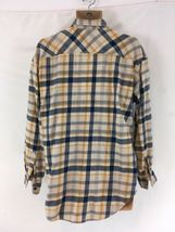 Levis Mens L Blue Yellow Plaid Hiking Camp Lightweight Cotton Flannel Shirt image 4