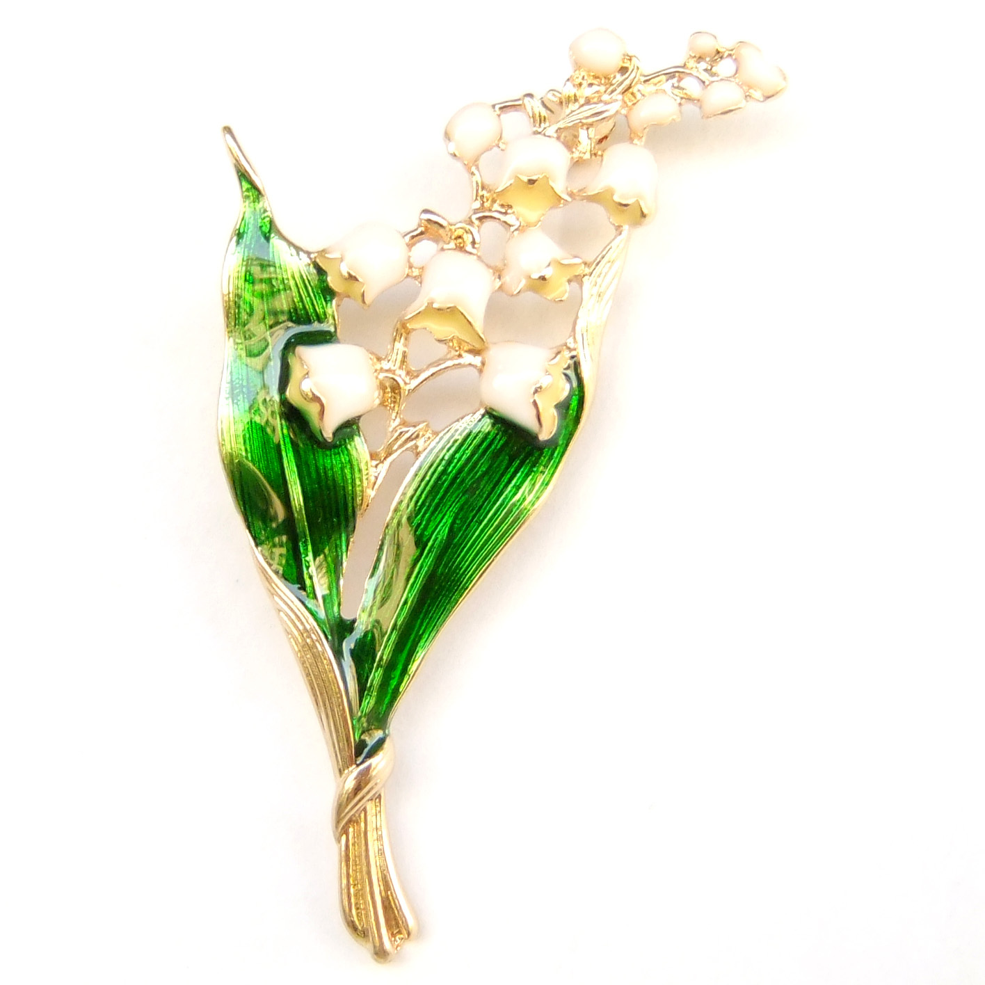 Primary image for Lily of The Valley White Flower Gold Stem Lovely Leaves Elegant Brooch Pin Gift