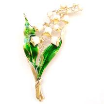 Brooch Lily of The Valley White Flower Gold Stem Green Leaves Elegant Lovely Pin - $8.99