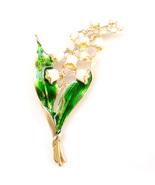 Lily of The Valley White Flower Gold Stem Lovely Leaves Elegant Brooch P... - $9.99