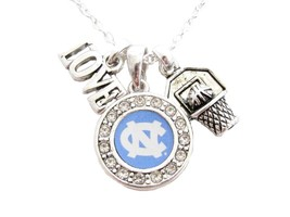 North Carolina Tar Heels Multi Charm Basketball Blue Silver Necklace Jew... - $12.65