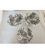 Johnson Bros Paisley Black White 2 Square Cereal Bowls 1 Saucer Made in ... - $56.10