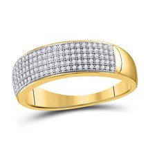 10kt Yellow Gold Mens Round Diamond Wedding Band Ring 1/3 Cttw - $539.10