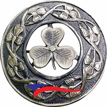 Scottish Kilt Fly Plaid Brooch Irish Shamrock Antique Back Locking Pin a... - $11.87