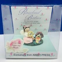 Rosebud babies Angel miniature easter bunny rabbit figurine Abbey Press ... - $19.07