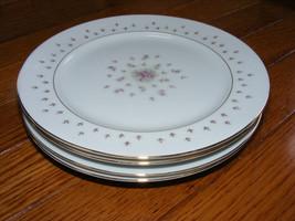 "Set of 4 Nikko Seyei JAPAN Fine China Normandy 460 7.5"" Salad Plates Rose Floral - $25.00"