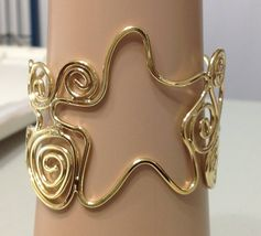 Star Cuff Wire Bracelet Statement Cleopatra Open Metal Swirly Gold Women... - $13.99