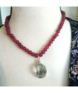 Necklace with Phantom Crystal Pendant Fully Beaded with Ruby Gemstones N... - $51.07