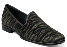 Stacy Adams Sultan Tiger Pony Hair Slip On Shoes Black Gold 25337-715 - €72,95 EUR
