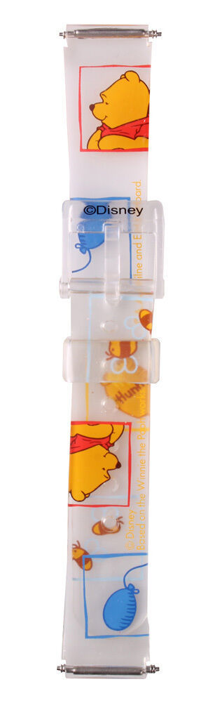Disney Winnie the Pooh Icon clear Jelly Plastic 14mm Watchband w pins D-203 NIB