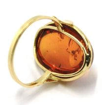 SOLID 18K YELLOW GOLD RING, BIG CABOCHON CENTRAL NATURAL OVAL AMBER 20X16mm image 4