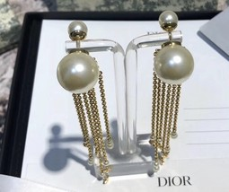 NEW AUTH Christian Dior 2020 DOUBLE PEARL EARRINGS GOLD DANGLE MULTI STRAND image 7
