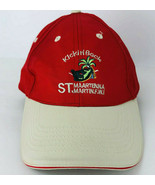 Kickin Back St Maarten Red Baseball Cap Hat Vacation Palm Trees Embroide... - $22.76
