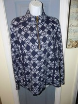 Crown & Ivy Blue/White Long Sleeve 1/4 Zip Pullover Size L Women's - $22.62