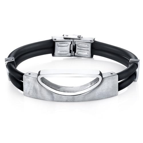 Stainless Steel & Black Silicon Bracelet