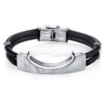 Stainless Steel & Black Silicon Bracelet - $65.99