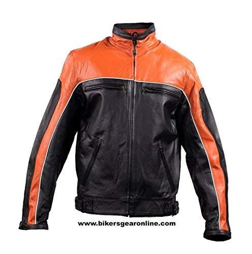 Primary image for MEN'S MOTORCYCLE LEATHER JACKET BLACK ORANGE RACING STYLE SOFT LEATHER NEW (60 R