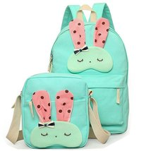 2Pcs Lovely Bunny Cartoon Canvas Backpack Cute School Bags for Teen Girls - $26.99