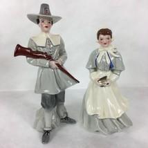 Florence Ceramics John Alden & Priscilla Figurines California Pottery Pi... - $140.25
