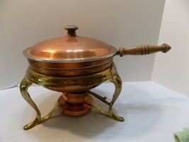 Vintage 5 Pc Copper & Brass Chafing Dish Warmer Serving Tray Pan Burner ... - $13.86