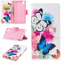 XYX Wallet Phone Case for Sony Xperia L1,[Two Butterflies][Kickstand][Ca... - $9.88