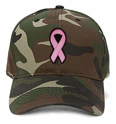 Pink Ribbon Hat - Women's Adjustable Cap - Breast Cancer Awareness (Camo)