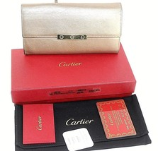 Authentic Cartier Shinning Bronze Goat Skin Leather Bifold Long Purse Fr... - $178.20