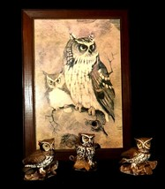 Vintage Owl Plaque and 2 Owl Figurines Set Homco 1114 AA19-1388