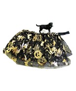 Dog Halloween skirt, Pet costume, Cat petticoat, Gold Witches on Black - $12.00+