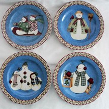 Debbie Mumm Sakura Jolly Snowmen Set of 4 Luncheon Salad Plates 2000 - $38.69