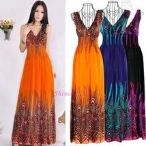 Women Deep V-neck Sleeveless Bohemian Peacock Tail Long Beach Dress One Size - $32.64