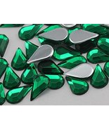 10x6mm Green Emerald H106 Flat Back Teardrop Acrylic Gemstones High Qual... - $5.59