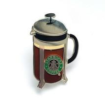 Starbucks Coffee Company French Press Silver Tone Metal & Enamel Pin Pin... - $19.97