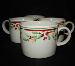 4 Majesticware Sakura Poinsettia Delight Christmas Holiday Tea Coffee Cu... - $35.64