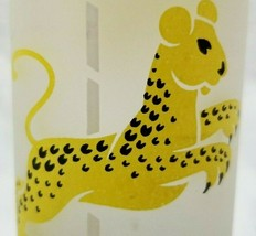 "Vtg 1950s Yellow Leopard Carousel 7"" Bar Glass Libbey Co Merry Go Round Tall D4 - $9.45"