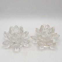 Shannon Cristal Lotus Fleur Bougie Bâton Supports Paires - $19.78