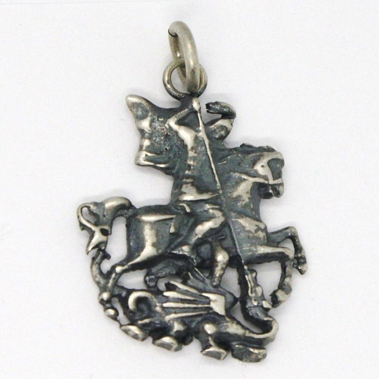 Silver 925 Pendant, Burnished & Satin Knight and Dragon, Fairy Tale