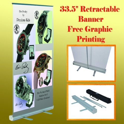 "33.5"" X 78"" Retractable Roll up Banner Stand W/ Free Graphic Printing Trade Show"