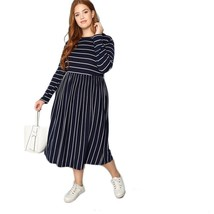 Womens Plus Size Long Sleeves Preppy Striped Dress Mid Calf Length Fit A... - $24.95