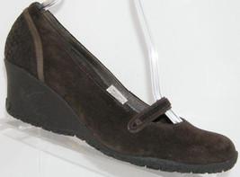Merrell 'Petunia' brown suede mary jane slip on round toe mid wedge heels 9.5 - $31.47