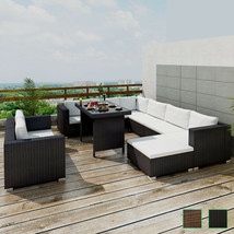 Outdoor Sectional Furniture Wicker Patio Rattan Sofa Set Deck Couch Blac... - $767.99