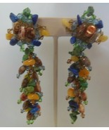 Vintage Long Multi-color Glass Stone/Bead Cluster Chain Clip-on Earrings - $85.00