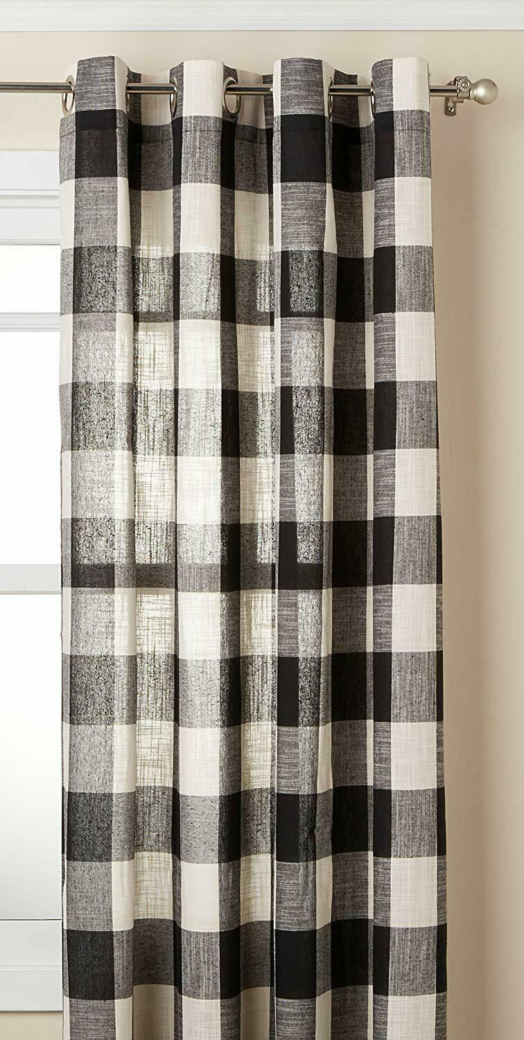 "Primary image for Courtyard Plaid Woven Curtain Panel with Grommets, Black, 63"" length, Lorraine"