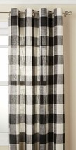 "Courtyard Plaid Woven Curtain Panel with Grommets, Black, 63"" length, Lorraine - $24.99"